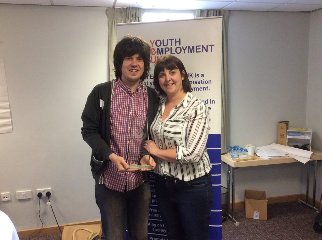 Jack with YEUK CEO Laura-Jane Rawlings after receiving his award for Ambassador of the Year 2015
