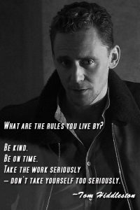 Even Tom Hiddleston knows it's important to be on time!