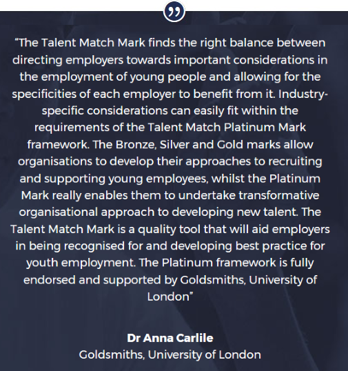 Talent Match Mark Goldsmiths University Quote