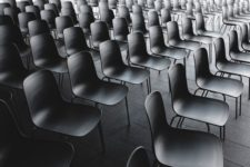 multiple rows of empty chairs